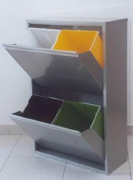 Armadio contenitori pattumiera raccolta differenziata 18 lt 4 secchi grigio ebay - Mobile raccolta differenziata 4 secchi ...